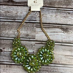 Green jeweled flower necklace